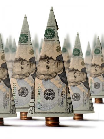 christmas trees made of money