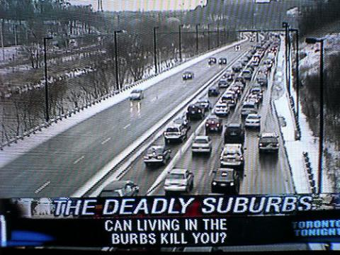 tv news asking if suburbs can kill you.