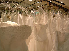 Wedding dresses...all in a row