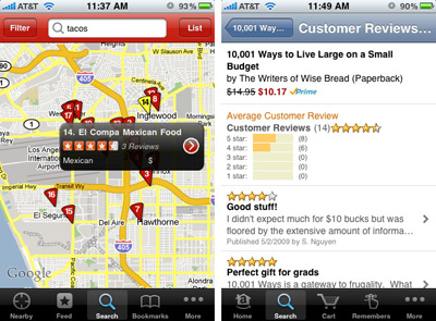 iPhone apps from Yelp and Amazon